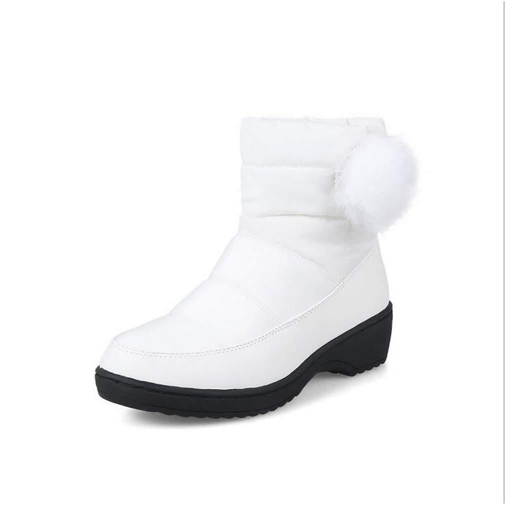 Hy Frauen Stiefelies Winter Student Casual Schnee Stiefel/Damen Künstliche PU Große Größe Outdoor Stiefel Flache Stiefel Snowboard Stiefel Winter Rutschfeste Stiefel (Farbe : Weiß, Größe : 35)