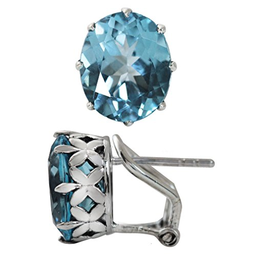 (10.88ct. Genuine Blue Topaz 925 Sterling Silver Flower Omega Clip Earrings)