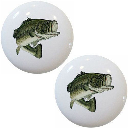Set of 2 Largemouth Bass Fish Ceramic Cabinet Drawer Pull Knobs