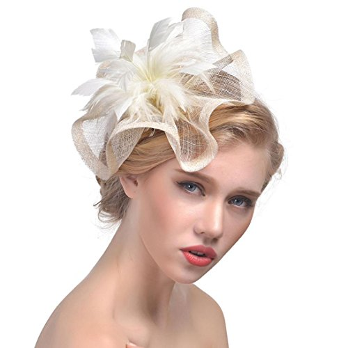 Challyhope Clearance! Fascinators Hat Flower Mesh Ribbons Feathers Headband Forked Clip Wedding Cocktail Tea Party Hat Headwear for Womens Girls (Beige -
