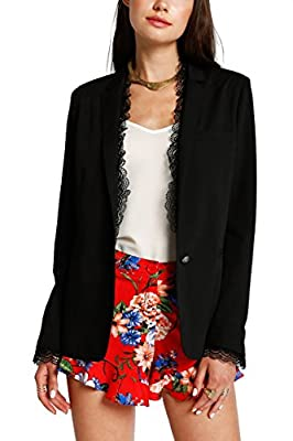 MeshMe Womens Reese - Lace Trim Detail Long Sleeve Lightweight Summer Blazer