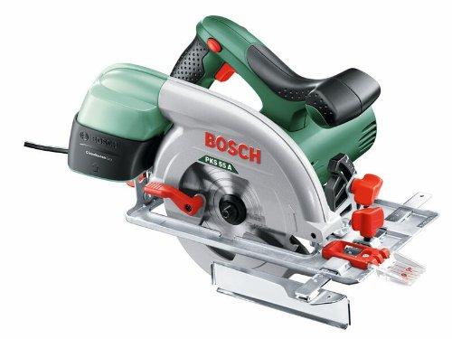 Bosch DIY Kreissäge PKS 55 A, 1 Hartmetallsägeblatt Speedline Holz, Parallelanschlag, Karton (1200 W, Nenn-Ø Sägeblatt 160 mm, 0 - 55 mm Schnitttiefenbereich bei 90°)