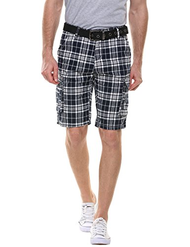 Hotouch Mens Dungarees Belted Wyoming Check Cargo Short Pants (White/Navy 38)
