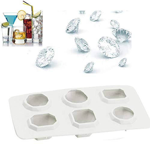 Pausseo Diamonds Gem Ice Cube Mold - Silicone Cool Flexible Stackable Fondant Cake Baking Chocolate Biscuit Candy Jelly DIY Tool Stacking Tray Storage Containers