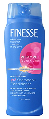 Finesse Restore + Strengthen Moisturizing 2in1 Shampoo + Conditioner, 13 oz (Pack of 6) Moisturize & Repair Dry or Damaged Hair (Finesse 2 In 1 Shampoo And Conditioner)