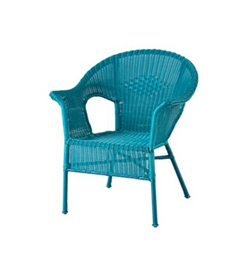 Resin Wicker Arm Chair (Turquoise Blue) (Pad Resin Chair)