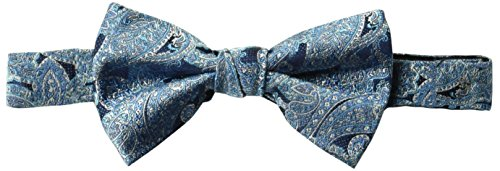 BUTTONED DOWN Men's Classic Silk Pre-Tied Bow Tie, turquoise paisley, One Size ()