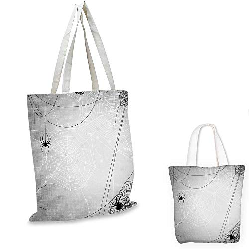 Spider Web thin shopping bag Spiders Hanging from Webs Halloween Inspired Design Dangerous Cartoon Icon fruit shopping bag Grey Black White. 15