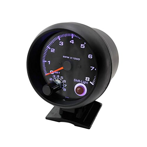 WINOMO Car Tachometer Gauge Turbo Boost Gauge White Light Universal Meter: