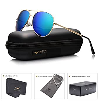 LUENX Aviator Sunglasses Polarized for Men & Women with Case - 400 UV Green Blue Lens Metal Gloss Gold Frame Mirrored 60mm