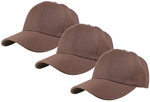 Gelante Plain Blank Baseball Caps Adjustable Back Strap 3 PC-001-Brown ()