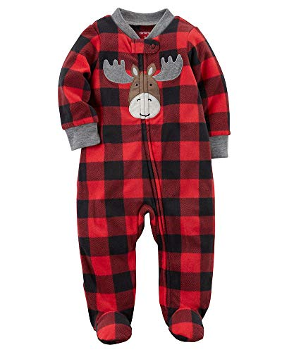Carters Moose - Carter's Baby Boys' Plaid Moose Zip Up Fleece Sleep And Play 3 Months