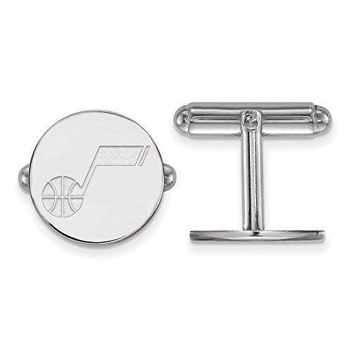 LogoArt NBA Utah Jazz Rhodium Plated Sterling Silver Cuff Links from LogoArt