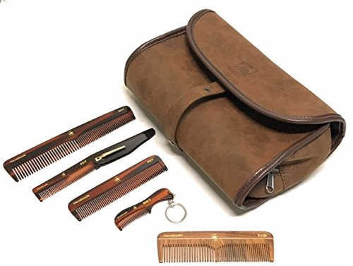 Price comparison product image GBS Hair Care Gift Set - Leather Hanging Travel Toiletry Bag & Deluxe Variety Pack of Handmade Combs for Scalp,  Beard & Mustache. Tortoise Dressing,  Pocket,  Folding,  Mustache Keychain + Wood Pocket