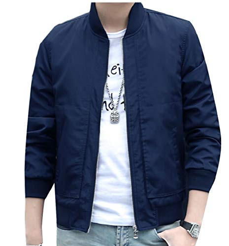 Casual Fit Men's Sleeves Coats Jackets Slim Gocgt Blue Outerwear Long Bomber xBXq1AEwwS