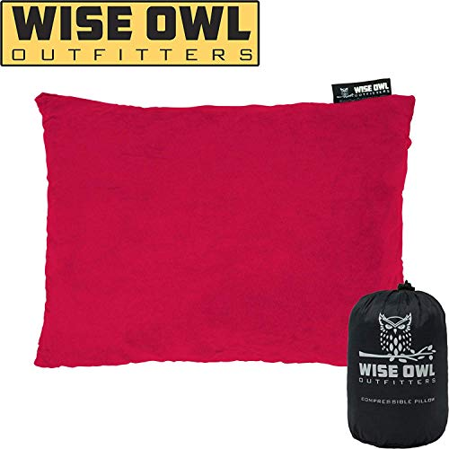 Wise Owl Outfitters Camping Pillow Compressible Foam Pillows – Use When Sleeping in Car, Plane Travel, Hammock Bed & Camp – Adults & Kids - Compact Small & Large Size - Portable Bag - LG Red