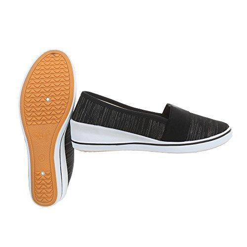 diseño con Design Zy1710 Zapatillas Heel holgado Ital Black mujer Flats de ta6qHR