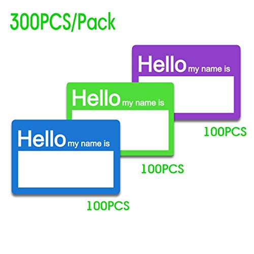 SMAR 2 X 3 inch Hello My Name is Stickers/Badges/Name Tag Labels Great for Kids, School, Employees, Reunions, Professionals, Parties, Events/Pack of 300 (3 Colors)