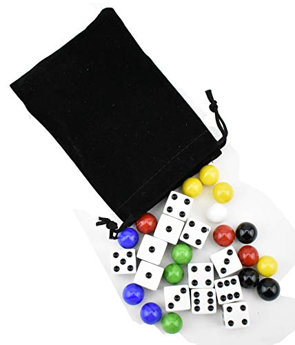(9/16 inch Marbles Aggravation Board Game Replacement Playing Pieces with Dice 16mm)