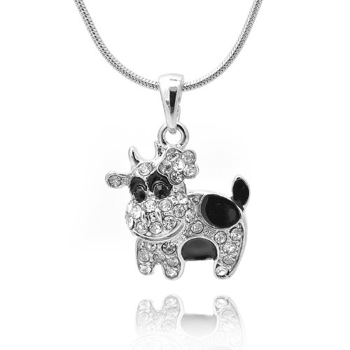 chelseachicNYC Crystal Black Spot Cow Necklace