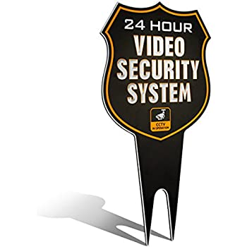 "Warning 24 Hour Video Surveillance Security Camera System in Operation Metal Yard Sign | Stylish Laser Cut SHIELD Design | Heavy Duty 1/8"" Thick Di-Bond Aluminum (Non-Reflective)"
