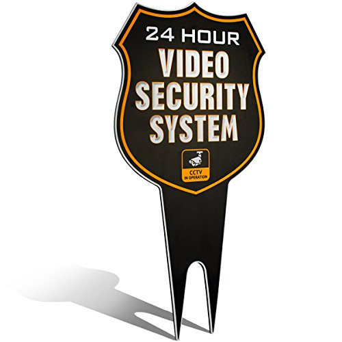 (Warning 24 Hour Video Surveillance Security Camera System in Operation Metal Yard Sign | Stylish Laser Cut Shield Design | Heavy Duty 1/8