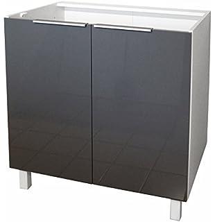 meuble de cuisine bas 120 cm 2 portes gris laqué tara: amazon.fr ... - Meuble Bas Cuisine 120