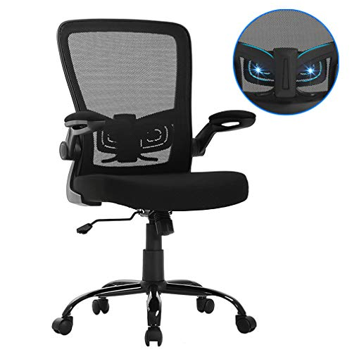 BestOffice Office Chair Mesh  Desk Chair Lumbar Support Desk Chair Ergonomic Adjustable Computer Chair Swivel Ergonomic Task Chair with Flip Up Armrest for Home & Office,Mid Back, Black