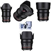 Rokinon Cine DS Lens Kit for Canon EF Mount Consists of 20mm T1.9 WA Lens, 35mm T1.5 Lens, 50mm T1.5 Lens, 85mm T1.5 Lens, Cleaning Kit