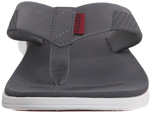 Volcom Mens Red Sandal Flip Flop Cool Grey