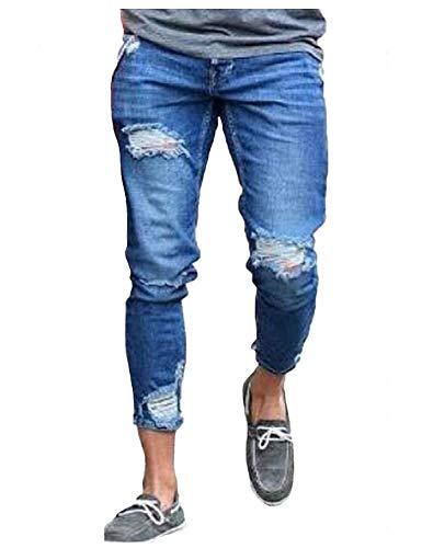 Estilo Denim Stretch Blau Strappati Tasche Fit Di Pantaloni Jeans Con Da E Hiphop Casual Slim Uomo Especial TSHwvwFxq