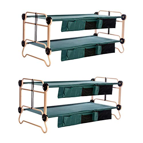 Stacking Cots - Disc-O-Bed X-Large Cam-O-Bunk Benchable Bunked Double Cot w/Organizers (2 Pack)