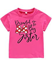 Amberetech Little Baby Girls Clothes Promoted to Big Sister Print T Shirt Tops, Big Sister Tees as Gift