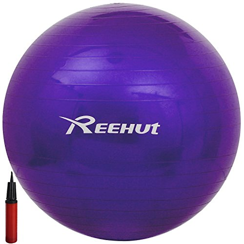 Reehut Anti-Burst Core Exercise Ball for Yoga, Balance, Workout, Fitness w/ Pump (Purple, 45cm)