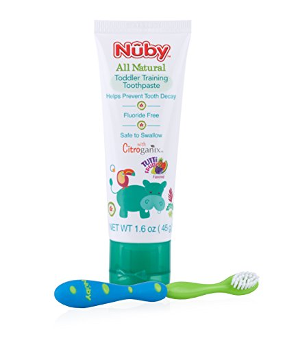 Blue Toothpaste - Nuby All Natural Toddler Toothpaste with Citroganix with Toothbrush, Blue/Green