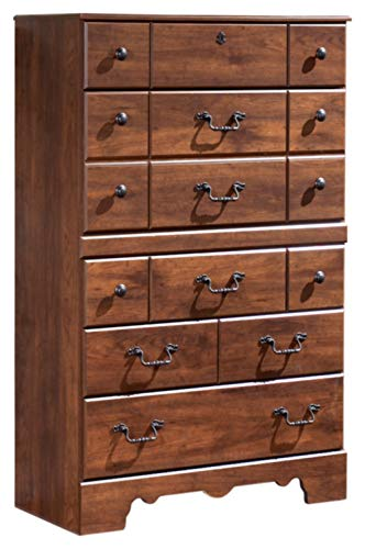 - Ashley Furniture Signature Design - Timberline Chest of Drawers - 5 Drawers - Vintage Casual - Warm Brown