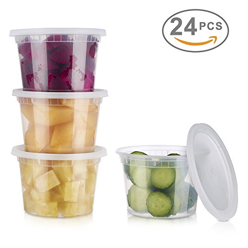Glotoch 24 Pack Durable Plastic Microwaveable Reusable Clear Takeout Travel Deli Food Storage Containers with Lids, Dishwasher and Freezer Safe, BPA Free (16oz) (Plastic Travel Lid)