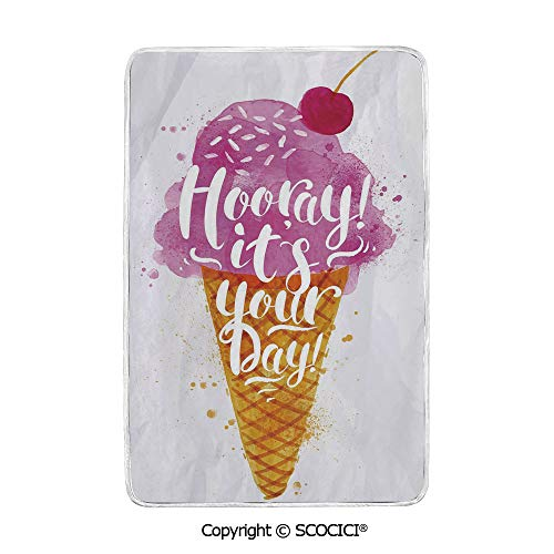 SCOCICI Ultra Comfortable,Cozy and Warm Carpet Blanket Hooray! Its Your Day Phrase with Ice Cream Cone Cherry Flavor Decorative No Colour Fading Rug One Side Printed