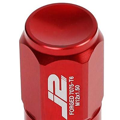 J2 Engineering LN-T7-007-15-RD Red 7075 Aluminum M12X1.5 20Pcs L: 50mm Close End Lug Nut w/Socket Adapter: Automotive