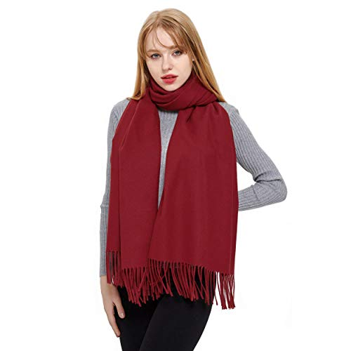 Cashmere Scarf and Shawl, Vimate Novelty Cashmere Pashmina Scarf and Wraps for Women/Girls/Men (Burgundy)