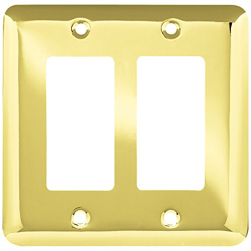 Franklin Brass W10252-PB-C Stamped Round Double Decorator Wall Plate/Switch Plate/Cover, Polished Brass