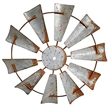 AHD Rustic Farmhouse Metal Windmill Wall Sculpture Decorative (15 Inch, Rusty Zinc)