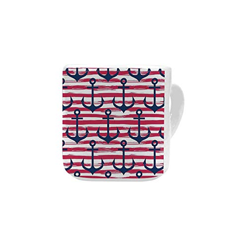 - Harbour Stripe White Heart Shaped Mug,Blue Anchors on Horizontal Paintbrush Stripes Marine Graphic for Home,2.56