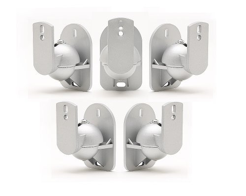 TechSol Essential TSS1-S - 5 Pack of Silver Universal Speaker Wall Mount Brackets by TechSol