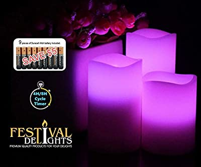 Flameless Candles By Festival Delights- Real Wax, 9pc Duracell Batteries Included, Multiple Color, Cycle Timer, Remote Control, LED Candles, Flameless Candle Set, Battery Operated, Decorations, Centerpieces