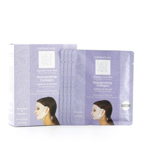LACE YOUR FACE Compression Facial Mask - Rejuvenating Collagen - 4 Pack (Anti Aging Cellular Renewal Serum)