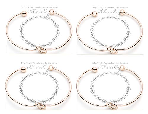 Vesungimey Bridesmaid Bracelets Bangle - Tie The Knot Bracelet Jewelry,Perfect Bridemaids Gifts with Cards -Gold,Rose Gold,Silver Color Available,Set of 1,4,6