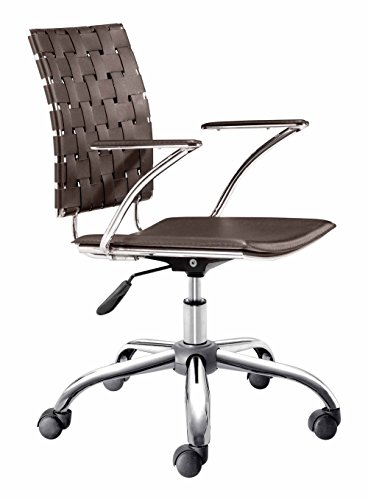 Zuo Modern 205032 Criss Cross Office Chair in Espresso; Made with a solid steel chrome frame and base, leatherette straps and seat, and includes an adjustable height feature; 250 lbs. weight capacity