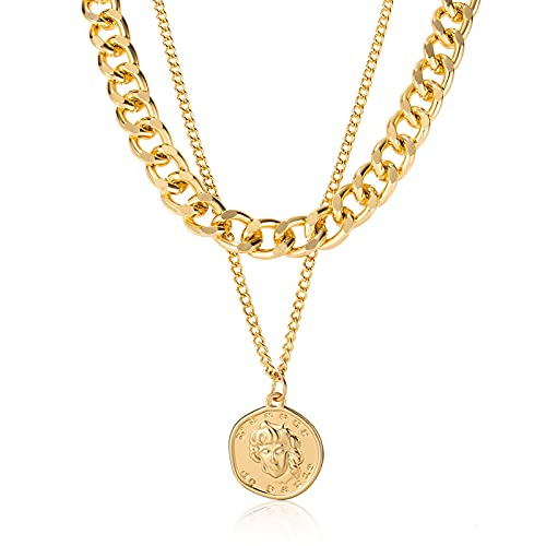 CHANBO 14K Gold Necklaces Gold Plated Exquisite Layered Paper Clip Chain Necklaces Simple Adjustable Initial Round Character Head Pendant Necklaces Layered Gold Chain Necklaces For Women Jewelry Gift