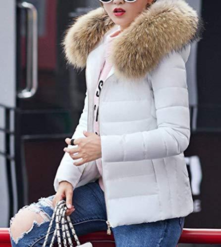 Slim Sintetica Moda Pelliccia Piumini Cappuccio Invernali Caldo Fit Donna Bianca Ragazza Corto Giacca Cappotto Elegante Mantello Di Con Fashion Monocromo FSnxg5qSz1